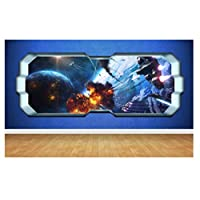 Space Planet Window Galaxy Stars Full Colour Wall Art Sticker Decal Boys Bedroom