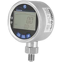 Akozon Manómetro digital Probador de manómetro hidráulico de Acero Inoxidable - Pantalla LCD de 4 dígitos - 0-60 Mpa - MPA/PSI/Kgf/cm² (unidades múltiples) - Conector G1/4 - Registro máximo