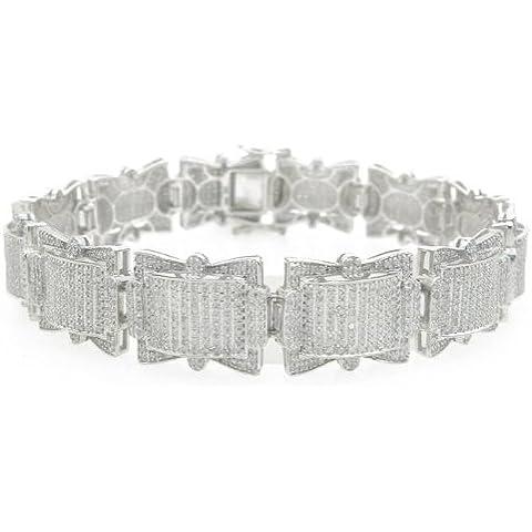 chain-bracelets da uomo 10K oro bianco massiccio 5.69ctw WG Shield