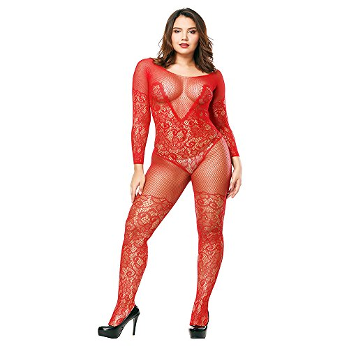 Liusdh damen strümpfe Dessous Babydoll Netz Body Strümpfe Nachtwäsche Adult Lace Bodysuit(Red,Free Size)