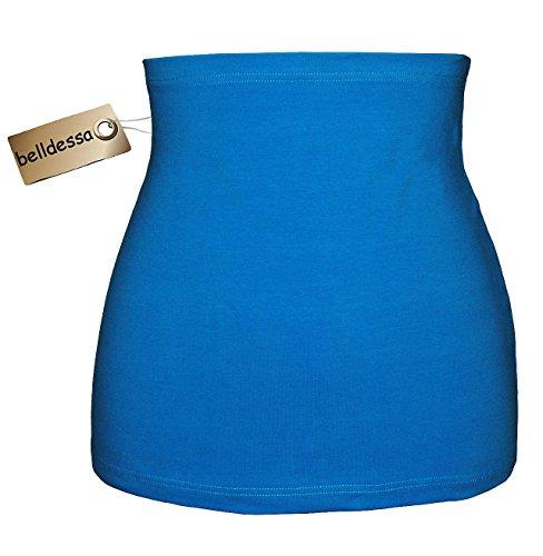 Jersey Baumwolle - azur / türkis blau - Nierenwärmer / Rückenwärmer / Bauchwärmer / Shirt Verlängerer - Größe: Damen Frauen XL - ideal auch für Blasenentzündung und Hexenschuss / Rückenschmerzen / Menstruationsbeschwerden (Cashmere-fleece-shirt)
