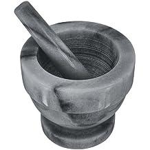 Judge mármol Mortero y pilón, piedra, grau / schwarz, 14  x  14  x  16 cm
