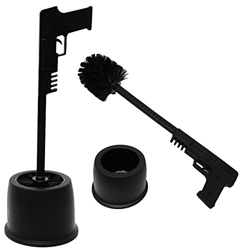 """Preisvergleich Produktbild Set _ WC Bürstenhalter - """" Pistole / Gewehr """" - ohne bohren / stehend - Halter Bad - Stand Bürstengarnitur / Klobürste & Klobürstenhalten - Design schwarz - lustig / Ständer Badezimmer - Toilettenhalter - Deko - Toilettenbürstenhalter / Toilettenbürste - Klo & Toilette - WC-Bürste / Bürsten - Pistolengriff / Waffe - Garnitur"""