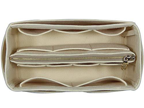 Zip Abnehmbare ([Passt Neverfull MM/Speedy 30, Beige] Geldbörse einfügen (3 mm Filz, abnehmbare Tasche w/Metall Zip), Filz Tasche Organizer)