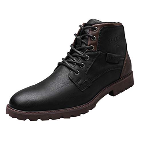 Yebutt Herren Retro High-Top-Stiefel Mit Seitlichem Reißverschluss Boot Wasserdicht for Men Kinder Arbeitsschuhe Leather -