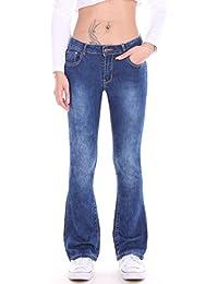 Bootcut Schlag Jeans Hüft Hose Schlaghose Denim blau Stretch Gürtel XS S M L XL