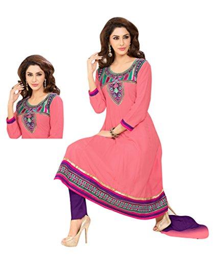 Vibes Women's Pure Cotton Straight Fit Un Stitched Salwar Kameez(V62-3004_Pink)