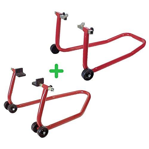 PACK soporte/elevador/caballete DELANTERO + TRASERO caballetes universal para motos RZ TOOLS