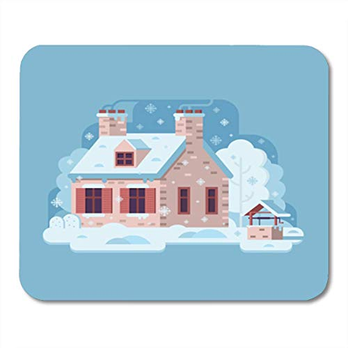 Farm Home Decor (HOTNING Gaming Mauspads, Gaming Mouse Pad Snowy Scene Farm Winter Home Smoking Chimney on Rural Cozy 11.8