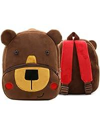 Preisvergleich für Quner Kinderrucksack Kindergarten, Lässig Mini Backpack,Tiere Cartoon Bär Muster Kindergartentasche Waschbar Plüsch...