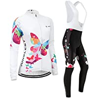 (Cojín 3D)(traje(Forro polar & strap blancas) tamaño:M) de larga Jerseys Moda chaleco rompevientos rendimiento manga para los ropa sudo mujer maillot transpirable ciclismo