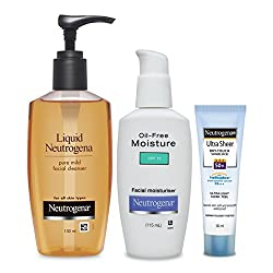Neutrogena Dry Skin Combo (Mild Facial Cleanser 150ml, Oil Free Moisturiser 115ml, Ultra Sheer Dry-Touch Sunblock SPF 50+ 30ml)