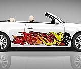 2x Seitendekor Schädel Skulls rot Horror Feuer Flamme 3D Autoaufkleber Digitaldruck Seite Auto Tuning bunt Aufkleber Seitenstreifen Racing Autofolie Car Wrapping Motorrad LKW Decals Sticker Tribal Seitentribal CW034, Größe LxB:ca. 160x40cm