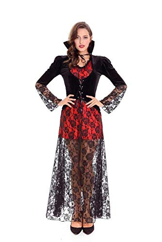 Fashion-Cos1 Spitze Maxikleid Hexenkostüm Deluxe Rot Schwarz Gothic Kleid Halloween Wizard Magical Girl Kostüm (Halloween-spiele Parteien Für Kids)