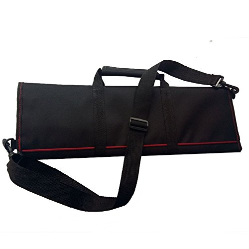 Qees Sacoche portable, faite à la main, en tissu Oxford, solide, durable, pour couteaux de chef, 45,7 cm, grande capacité, 12 poches, sacoche pliable avec poignée, bandoulière DD03, de couleur noire