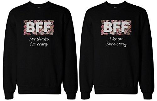 BFF regalo, BFF suéteres–Crazy BFF Floral impresión sudaderas para mejores amigos