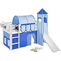 Preisvergleich für Lilokids Spielbett JELLE mit Turm, Rutsche und Vorhang Kinderbett, Holz, weiß, 208 x 98 x 113 cm