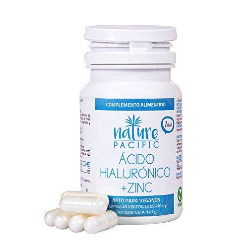 Acido Hialuronico, Zinc, antioxidante natural, hidratación para la piel, reduce arrugas y líneas de expresión, ideal para combinar con serum facial, 30 cápsulas, tratamiento un mes.