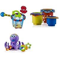 Nuby Set of 3 Toys - Splash N Catch Bathtime Fishing Set 6142, 5 Splish Splash Stacking Cups 6152, 1 Octopus Floating Bath Toy 6144, 18 M+