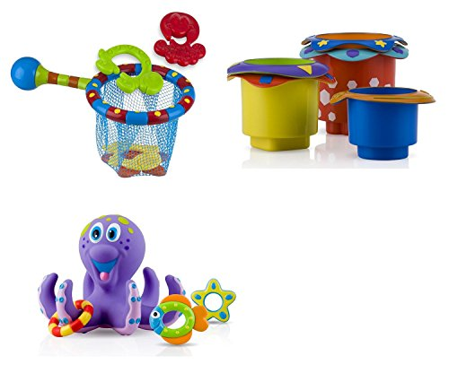 Image of Nuby Set of 3 Toys - Splash N Catch Bathtime Fishing Set 6142, 5 Splish Splash Stacking Cups 6152, 1 Octopus Floating Bath Toy 6144, 18 M+