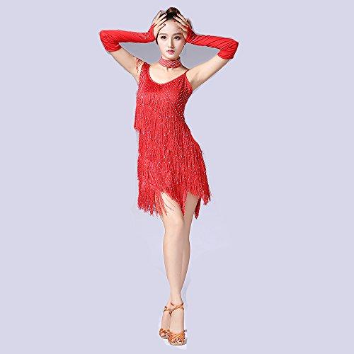 Dance Rock Latin Dance Dress Fransen Pailletten Quaste Kleid Tanzwettbewerb Performance Kostüm (Fringe Jazz Dance Kostüme)