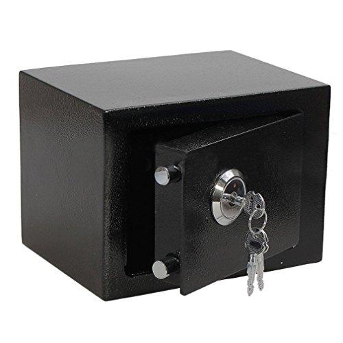 3L Tresor Safe, Sicherheitsschrank Möbeltresor Doppelbartschloss Wandtresor Geldsafe Sicher Tresor Safe 3KG 23 x 17 x 17CM Schwarz