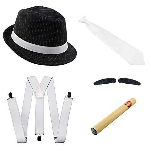 Foxxeo Gangster Kostüm Set mit Hosenträger, Krawatte, Hut, Zigarre und Bart - 20er Jahre Karneval Fasching Motto Party