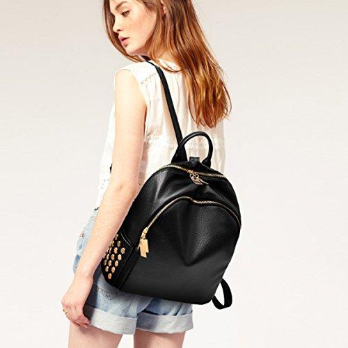 Flada Women PU Leder Rucksäcke für Teenager Girls School Bags Fashion Vintage Casual Rucksack Schultertaschen grau Schwarz