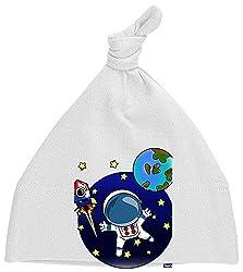 HARIZ Baby Mütze Knoten Astronaut Im Weltall Astronaut Mond Planet Inkl. Geschenk Karte Milchzahn Weiß