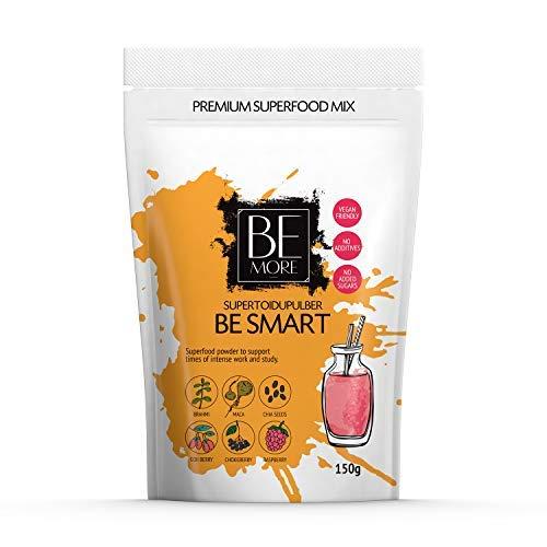 Be Smart Superfood Pulver - Superfood Mix ist Natürlich, Vegan und Frei von Zusatzstoffen. Mix ist reich an Vitamin C und Mangan (88% RDA) für Ihr Gehirn und hilft Ihnen, sich zu konzentrieren. -