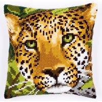Vervaco - Fodera anteriore da cuscino, per punto croce, con leopardo, multicolore