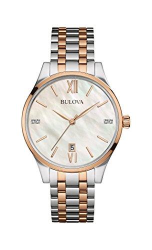 Bulova Diamond Reloj de Cuarzo para Mujer con Madre de Pearl Dial analógico Display y Dos Tonos Pulsera Bañado En Oro Rosa De Acero Inoxidable 98s150