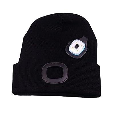 OMOUP 4 LED Stirnlampe Beanie Mütze, Winter warme Beanie Hut Hände frei beleuchtete Beanie Mütze mit 3 Helligkeitsstufe für Walking in der Nacht, Camping, Hund zu Fuß, Radfahren