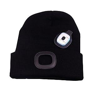 OMOUP Camping Outdoor LED Kappe 4 LED Hut USB Aufladbare Caps für Männer Frauen warme Strickmütze LED Cap Licht mit 3 Helligkeitslevel Scheinwerfer Cap LED Cap für Walking, Camping, Jogging, Angeln