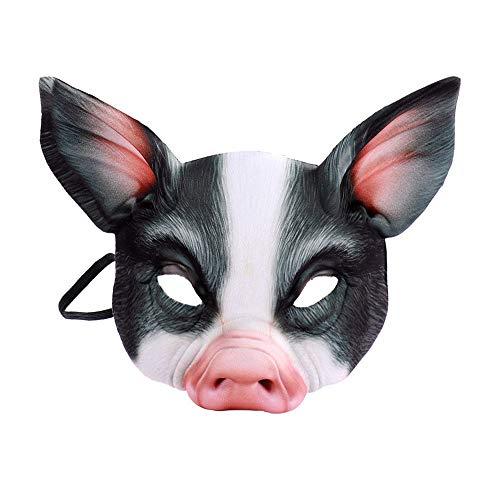 (BaronHong Halloween Karneval Kostüm Cosplay Schwein Maske für Erwachsene und Kinder (schwarz, M))