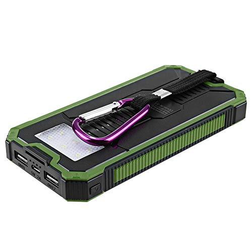 Solar Ladegerät Portable Power Bank Dual USB Wasserdicht Staubdicht Stoßfest Geeignet für Handys und Tablets Outdoor Camping,Green
