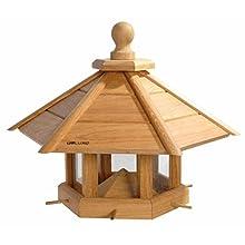 """Luxus Vogelhaus 46131e - Casetta per uccelli """"Anflug"""", misura XXL, in legno di quercia, per giardino, balcone, legno di quercia oliato con silo / 6 aste di volo - XL"""
