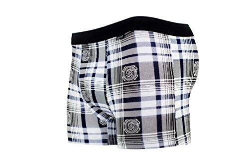 Herren Boxershorts Baumwolle 2er Pack, schwarz-weiß mit Karo- und Streifenmuster. 95% Baumwolle, 5% Elasthan. Größen M-XXL Mehrfarbig