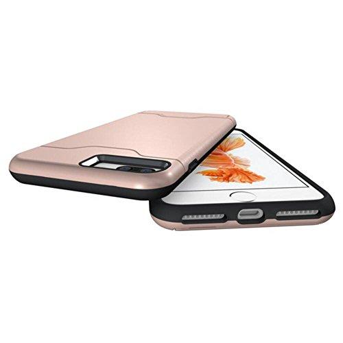 Skitic 2 in 1 Doppelschutz Hülle für iPhone 7, Hybrid Rugged Armor Cover Case Dual Layer Slim Shock Proof Drop Resistance Brushed PC + TPU Handytasche Schutzhülle für Apple iPhone 7 4,7 Zoll - Integri Rose Gold