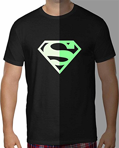 Herren T-Shirt SuperMan Glow in the Dark Kurzarm ( Schwarz , 3XL ) (Glow Kurzarm-t-shirt)