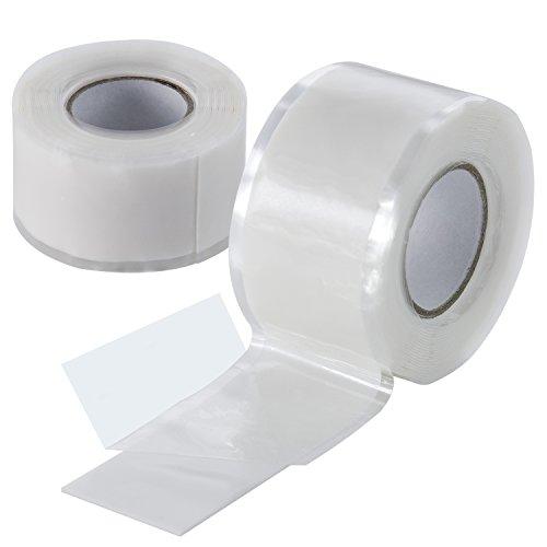 Poppstar 1008999 2x 3m selbstverschweißendes Silikonband, Silikon Tape Reparaturband, Isolierband und Dichtungsband (Wasser, Luft), 25mm breit, weiß