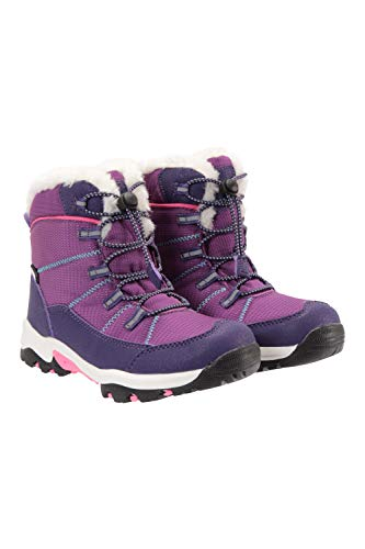 Mountain Warehouse Comet Kids Waterproof Snowboots -Warm Faux Fur Winter Shoes, High Traction Outsole - Ideal for Cold Weather, Walking