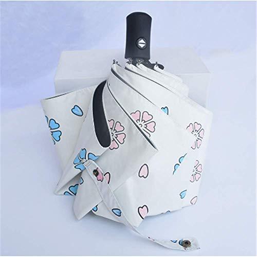 LYJZH Sonnenschirm Automatikschirm schwarzer Gummi Regenschirm mit doppeltem Verwendungszweck Blütenblatt weiß Automatik