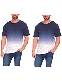 aa4040b1ca Cargo Bay Mens Dip Dye Ombre T-Shirt with Check Pocket