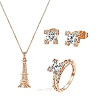 Yoursfs Womens Jewellery Set 18ct Rose Gold Plated Cubic Zirconia Unique Eiffel Tower Necklace and Earrings and Ring Sets for Bridal Wedding
