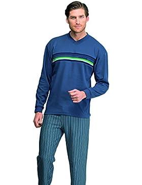 Pijama caballero azul de invierno Assman con banda de punto y pantalón a rallas (7920) fabricado en España XXL
