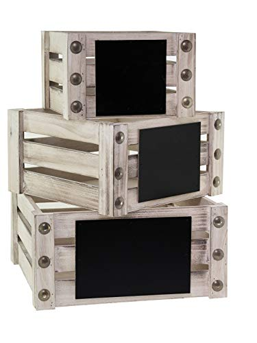 BlueBD 3 Set Vintage Handarbeit, Dekokisten Holzkiste Regal Sammler Setzkasten Dekoration Box, Shabby-Chic, Landhaus Stil, Cottage Style (III)