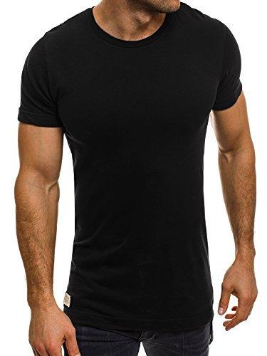 OZONEE Herren T-Shirt mit Motiv Kurzarmshirt Rundhals Figurbetont Shirt BLACK WHITE 1111T Schwarz
