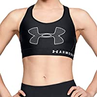 Under Armour, Armour Mid Graphic, Reggiseno Sportivo, Donna, Nero (Nero/Bianco/Bianco), M