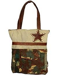 Priti Luxury Design Handbag Tote Bag Travel Bag In Washed Canvas Leather - B0791FKBLR